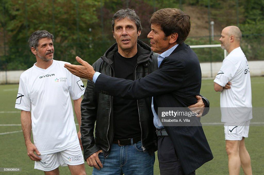 Marco Morandi, Luca Barbarossa and Gianni Morandi attend 'Partita Del Cuore' trainings at Due Ponti Sporting Club on May 5, 2016 in Rome, Italy.