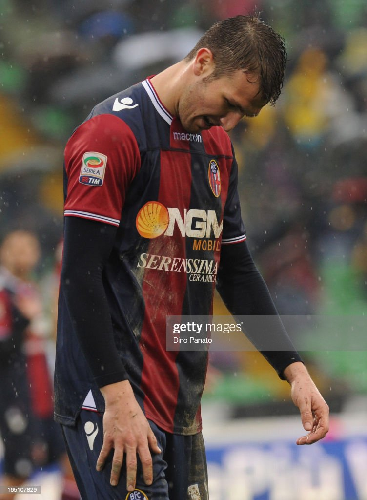 <a gi-track='captionPersonalityLinkClicked' href=/galleries/search?phrase=Marco+Motta&family=editorial&specificpeople=2443419 ng-click='$event.stopPropagation()'>Marco Motta</a> of Bologna FC shows his dejection during the Serie A match between Udinese Calcio and Bologna FC at Stadio Friuli on March 30, 2013 in Udine, Italy.