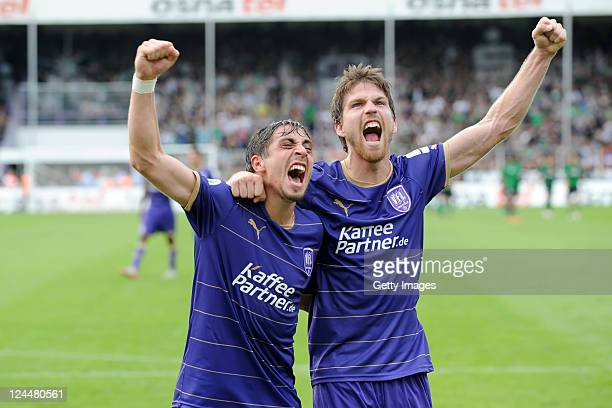 Marco Neppe of Osnabrueck and Andreas Glockner of Osnabrueck celebrate after winning during the Third League match between VfL Osnabrueck and...