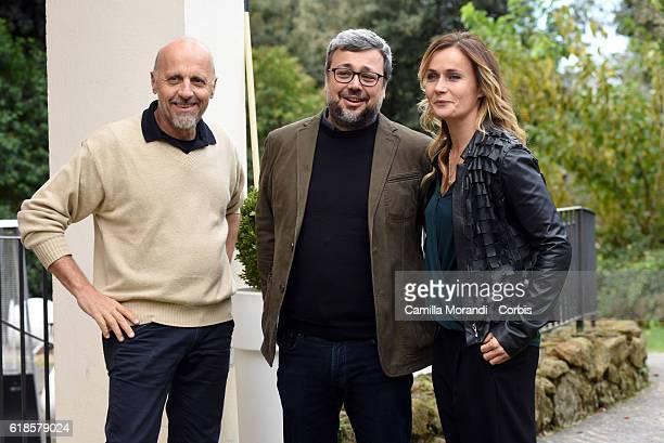 Marco Paolini Marco Segato and Lucia Mascino attend a photocall for 'La Pelle Dell'Orso' on October 27 2016 in Rome Italy