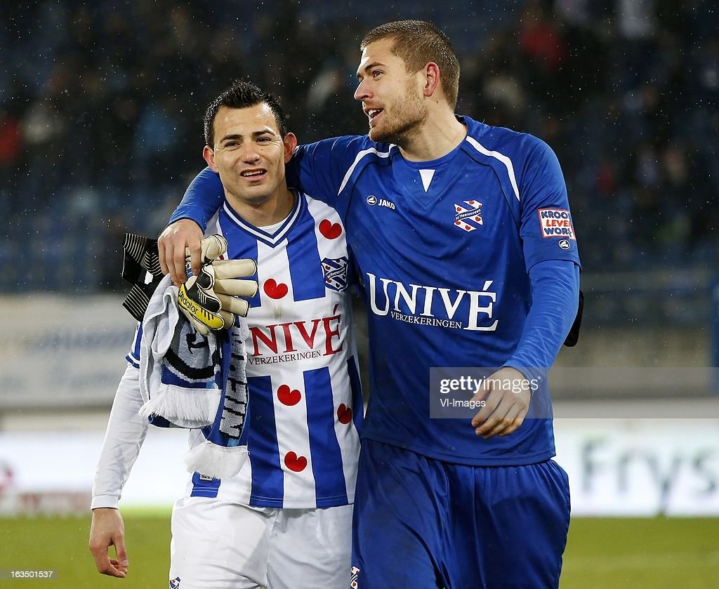 Marco Papa (L), goalkeeper Cristian Nordtfeld (R) during the Dutch Eredivisie match between SC Heerenveen and PSV Eindhoven at the Abe Lenstra Stadium on march 09, 2013 in Heerenveen, The Netherlands