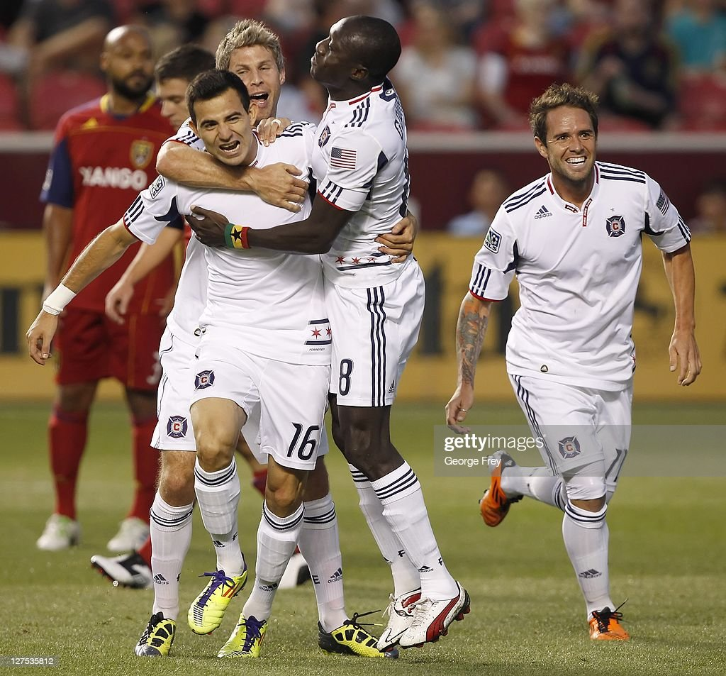 Marco Pappa #16 of the Chicago Fire celebrates his goal with Dominic Oduro #8, Logan Pause #12 and Daniel PalaDini #11 during a game against Real Salt Lake during the first half of an MLS soccer game September 28, 2011 at Rio Tinto Stadium in Sandy, Utah.