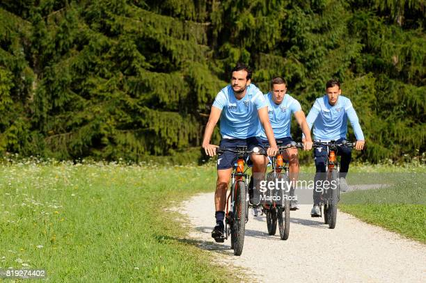Marco Parolo Adam Marusic and Alessandro Murgia of SS Lazio by bike in the circuit of the UCI 2018 MTB Marathon World Championship before the SS...