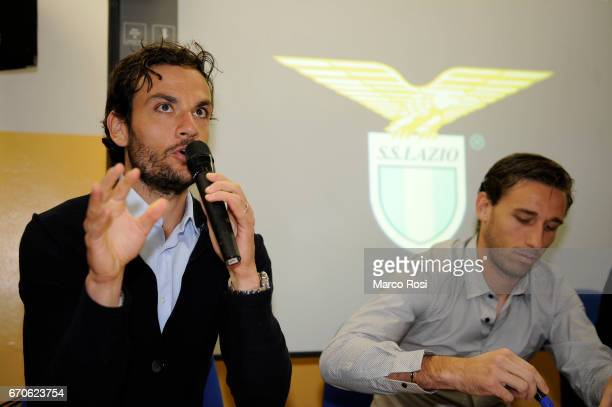 Marco Parolo and Lucas Biglia SS Lazio speak to school students at the Insitute Gassaman in Rome on April 20 2017 in Rome Italy