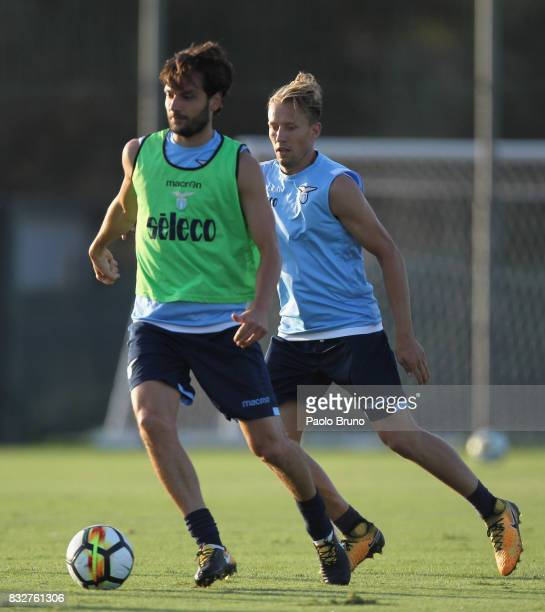 Marco Parolo and Lucas Leiva of SS Lazio in action during the SS Lazio training session on August 16 2017 in Rome Italy