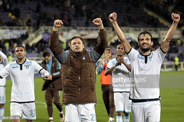Marco Parolo and Stefan Radu of S Lazio celebrates the victory after during the Serie A match between ACF Fiorentina and SS Lazio at Stadio Artemio...