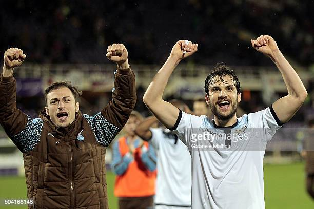 Marco Parolo and Stefan Radu of S Lazio celebrates the victory after the Serie A match between ACF Fiorentina and SS Lazio at Stadio Artemio Franchi...