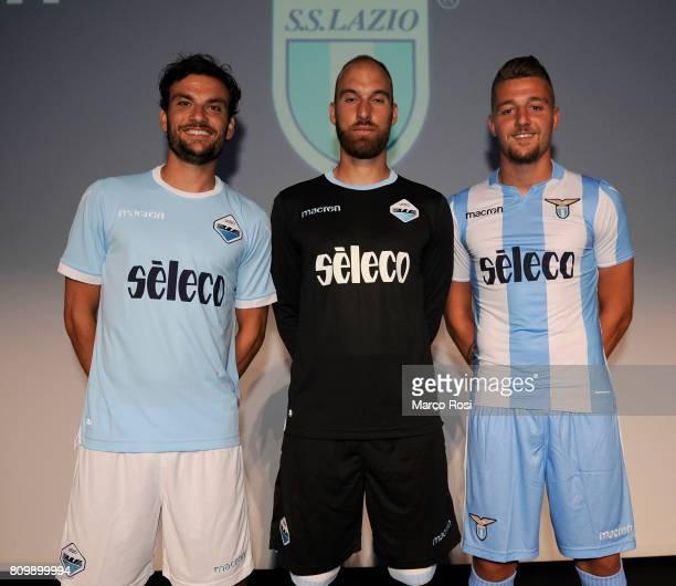 Marco Parolo Ivan Vargic Sergej Milinkovic Savic os SS Lazio pose during the SS Lazio unveiling new kit at Spazio Novecento on July 6 2017 in Rome...