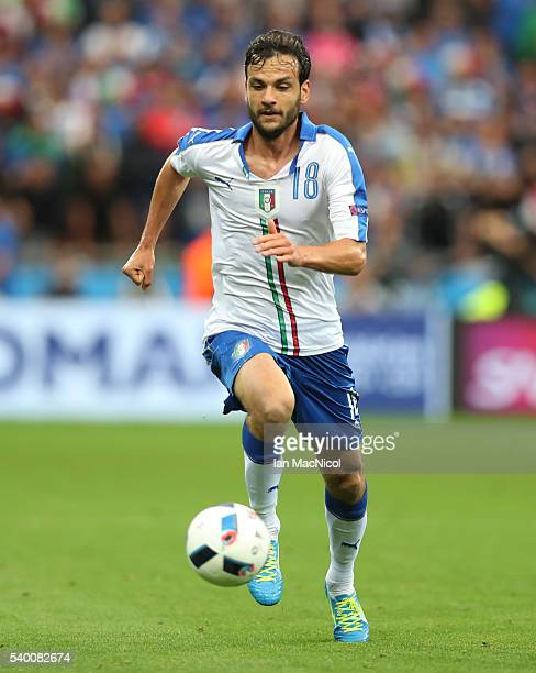 Marco Parolo of Italy controls the ball during the UEFA EURO 2016 Group E match between Belgium and Italy at Stade des Lumieres on June 13 2016 in...