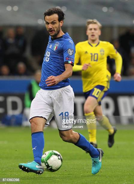 Marco Parolo of Italy in action during the FIFA 2018 World Cup Qualifier PlayOff Second Leg between Italy and Sweden at San Siro Stadium on November...