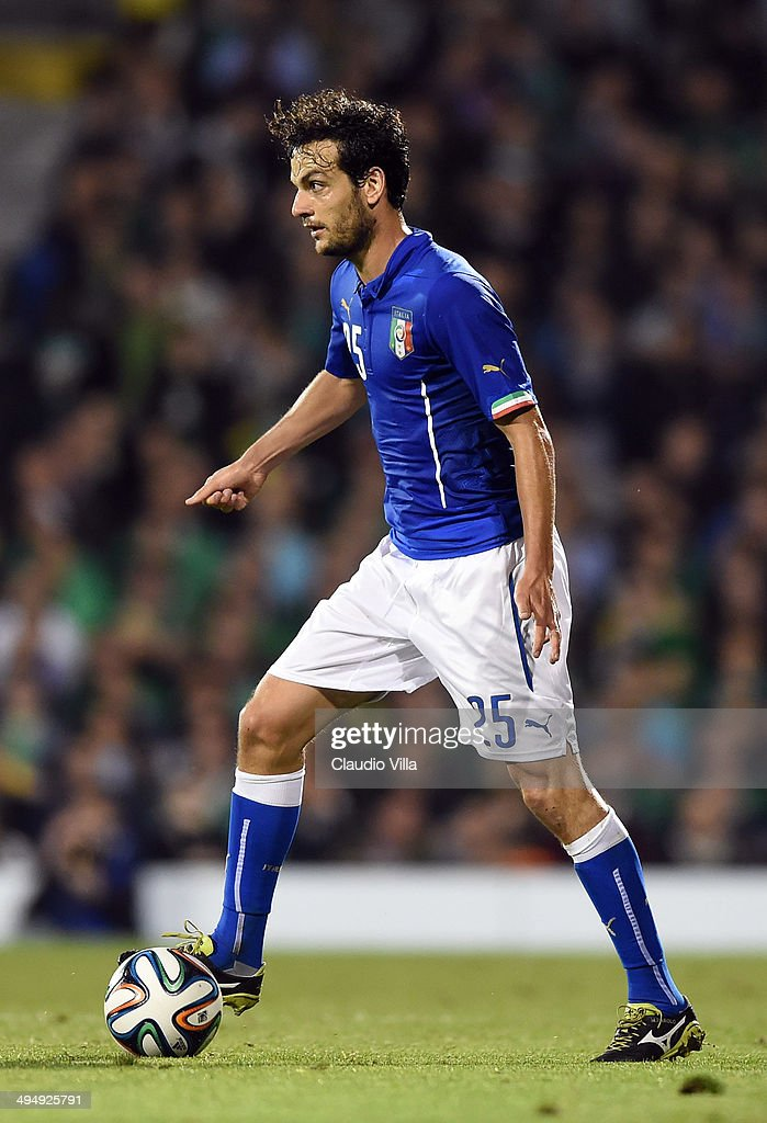 <a gi-track='captionPersonalityLinkClicked' href=/galleries/search?phrase=Marco+Parolo&family=editorial&specificpeople=6474753 ng-click='$event.stopPropagation()'>Marco Parolo</a> of Italy in action during the International Friendly match between Italy and Ireland at Craven Cottage on May 30, 2014 in London, England.