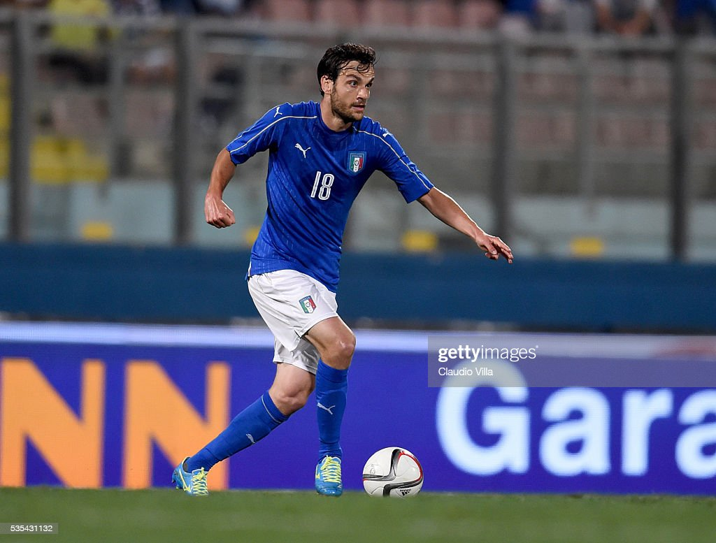 <a gi-track='captionPersonalityLinkClicked' href=/galleries/search?phrase=Marco+Parolo&family=editorial&specificpeople=6474753 ng-click='$event.stopPropagation()'>Marco Parolo</a> of Italy in action during the international friendly between Italy and Scotland on May 29, 2016 in Malta, Malta.