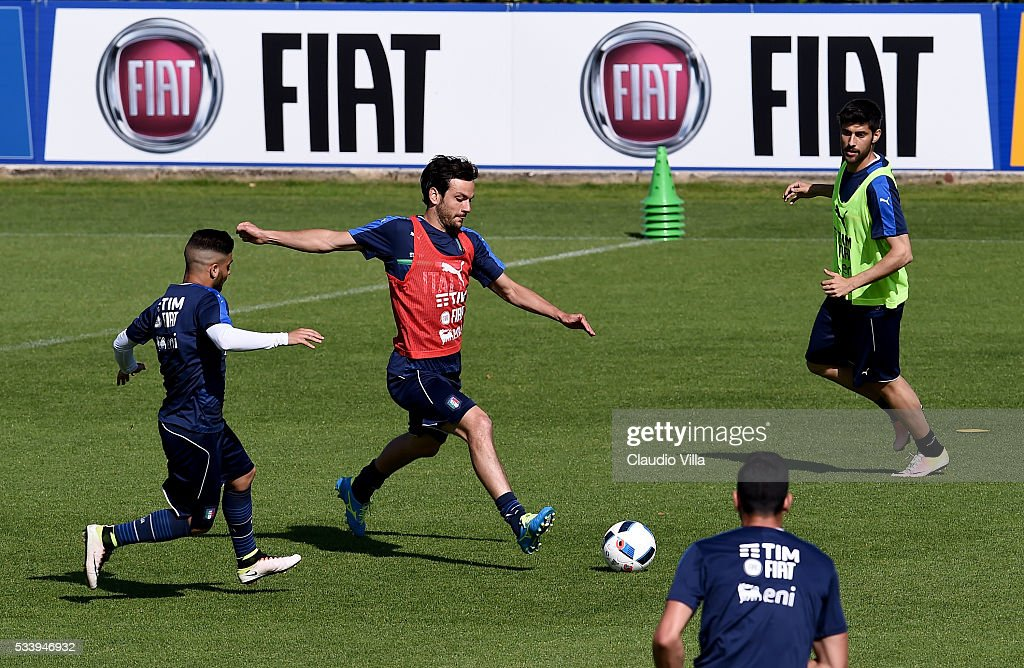 <a gi-track='captionPersonalityLinkClicked' href=/galleries/search?phrase=Marco+Parolo&family=editorial&specificpeople=6474753 ng-click='$event.stopPropagation()'>Marco Parolo</a> of Italy in action during the Italy training session at the club's training ground at Coverciano on May 24, 2016 in Florence, Italy.