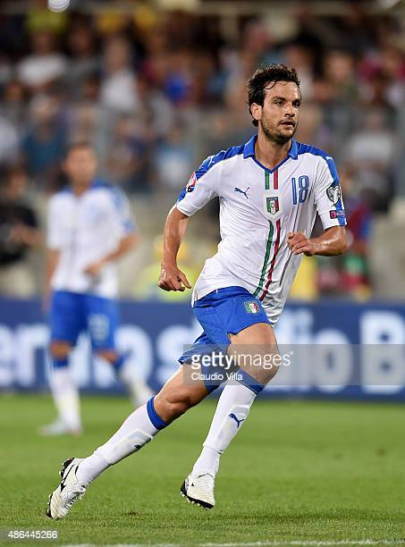 Marco Parolo of Italy in action during the UEFA EURO 2016 qualifier between Italy and Malta on September 3 2015 in Florence Italy