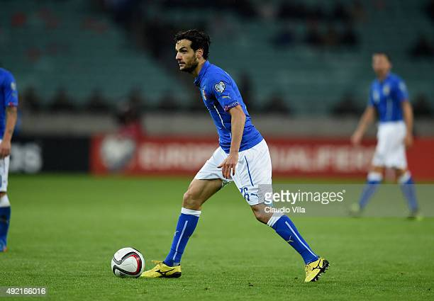Marco Parolo of Italy in action during the UEFA Euro 2016 qualifying football match between Azerbaijan and Italy at Olympic Stadium on October 10...
