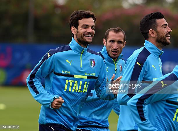 Marco Parolo of Italy smiles during the training session at 'Bernard Gasset' Training Center on June 18 2016 in Montpellier France