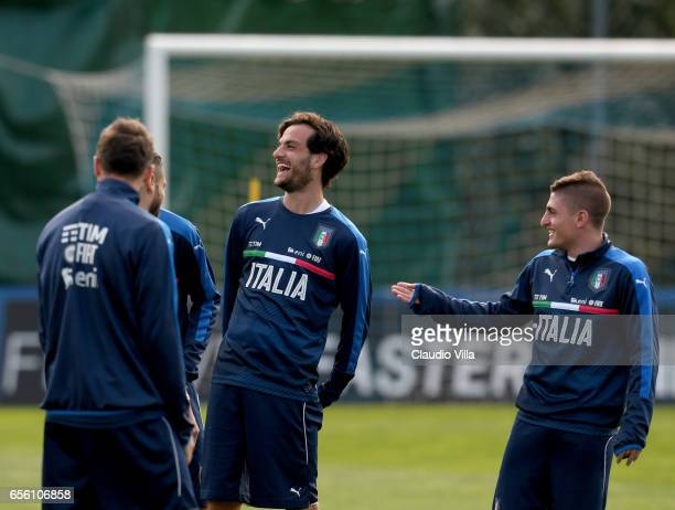 Marco Parolo of Italy smiles during the training session at the club's training ground at Coverciano on March 21 2017 in Florence Italy