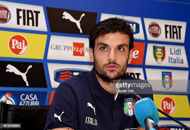 Marco Parolo of Italy speaks to the media during a press conference at Coverciano on October 7 2015 in Florence Italy