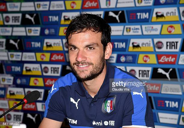 Marco Parolo of Italy speaks with the media during a press conference at Casa Azzurri on June 19 2016 in Lyon France