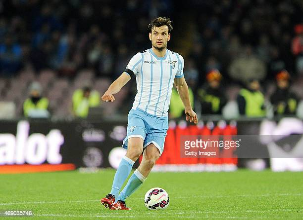 Marco Parolo of Lazio in action during the Tim cup match between SSC Napoli and SS Lazio at the San Paolo Stadium on April 8 2015 in Naples Italy
