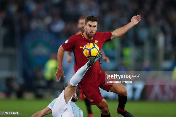 Marco Parolo of Lazio Kevin Strootman of AS Roma during the Italian Serie A match between AS Roma v Lazio at the Stadio Olimpico on November 18 2017...