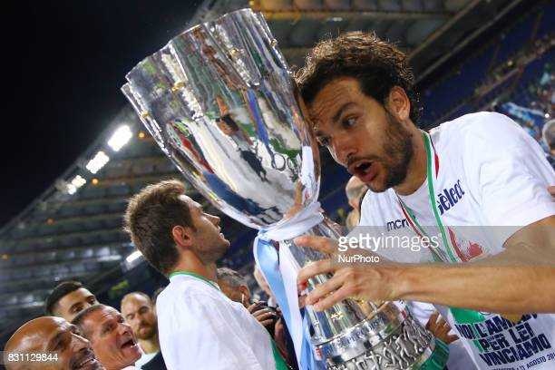 Marco Parolo of Lazio with the cup after winning the Italian SuperCup TIM football match Juventus vs Lazio on August 13 2017 at the Olympic stadium...