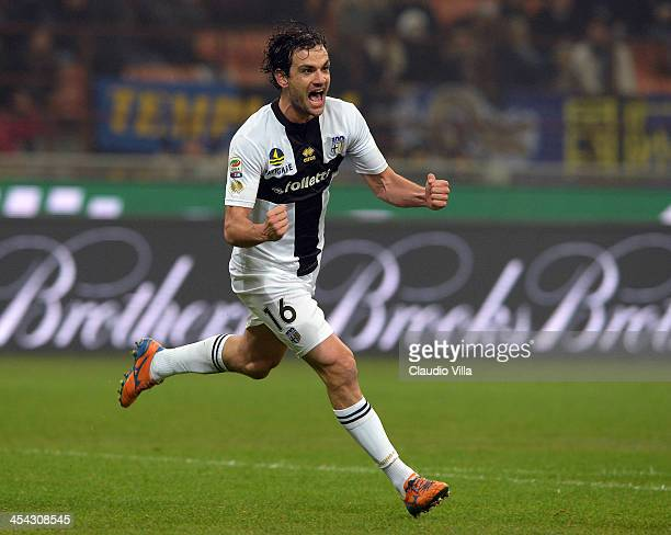 Marco Parolo of Parma FC celebrates scoring the second goal during the Serie A match between FC Internazionale Milano and Parma FC at Stadio Giuseppe...