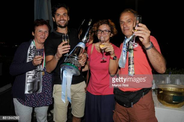 Marco Parolo of SS Lazio and his family attend a party to celebrate the 23 victory over Juventus in the Italian Super Cup on August 14 2017 in Rome...