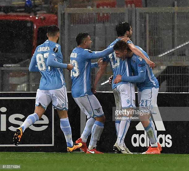 Marco Parolo of SS Lazio celebrates after scoring the opening goal during the UEFA Europa League Round of 32 second leg match between SS Lazio and...