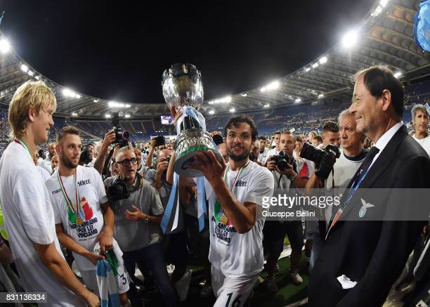 Marco Parolo of SS Lazio celebrates the victory after the Italian Supercup match between Juventus and SS Lazio at Stadio Olimpico on August 13 2017...