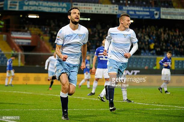 Marco Parolo of SS Lazio celebrates wit his team mate a second goal during the Serie A match between UC Sampdoria and SS Lazio at Stadio Luigi...