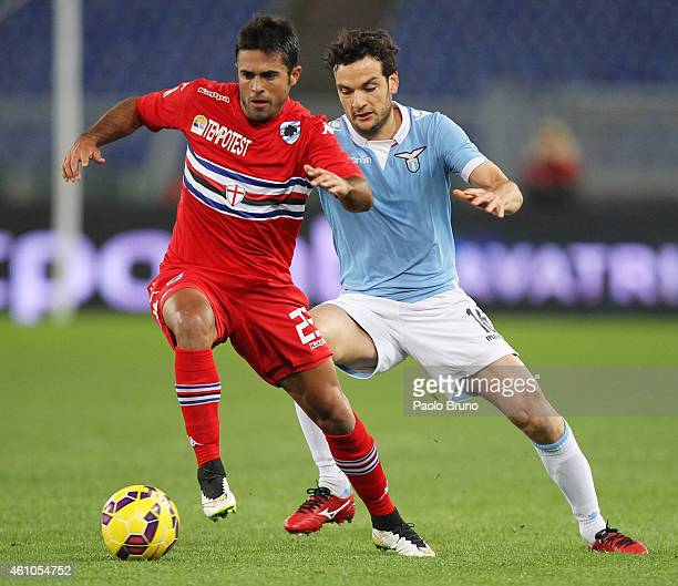 Marco Parolo of SS Lazio competes for the ball with Martins Eder of UC Sampdoria during the Serie A match between SS Lazio and UC Sampdoria at Stadio...