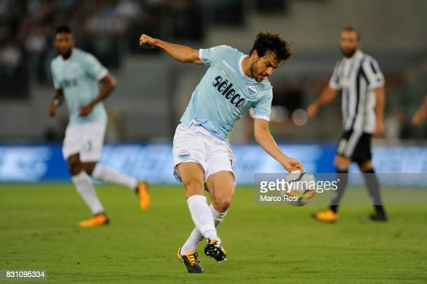Marco Parolo of SS Lazio during the Italian Supercup match between Juventus and SS Lazio at Stadio Olimpico on August 13 2017 in Rome Italy