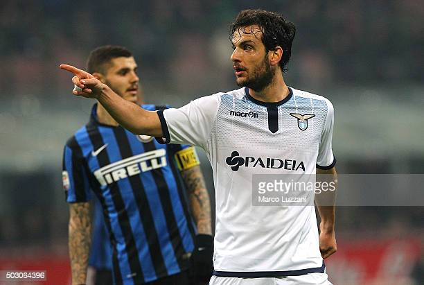 Marco Parolo of SS Lazio gestures during the Serie A match between FC Internazionale Milano and SS Lazio at Stadio Giuseppe Meazza on December 20...