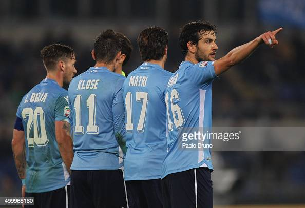 Marco Parolo of SS Lazio gestures during the Serie A match between SS Lazio and Juventus FC at Stadio Olimpico on December 4 2015 in Rome Italy