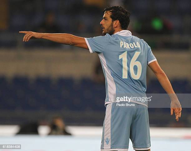 Marco Parolo of SS Lazio gestures during the Serie A match between SS Lazio and Cagliari Calcio at Stadio Olimpico on October 26 2016 in Rome Italy
