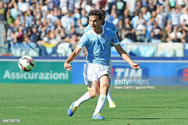 Marco Parolo of SS Lazio in action during the Serie A match between SS Lazio and US Sassuolo Calcio at Stadio Olimpico on October 5 2014 in Rome Italy