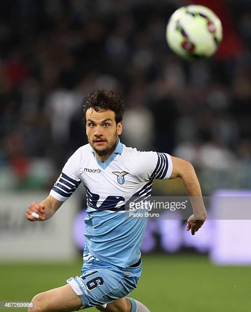 Marco Parolo of SS Lazio in action during the Serie A match between SS Lazio and Hellas Verona FC at Stadio Olimpico on March 22 2015 in Rome Italy