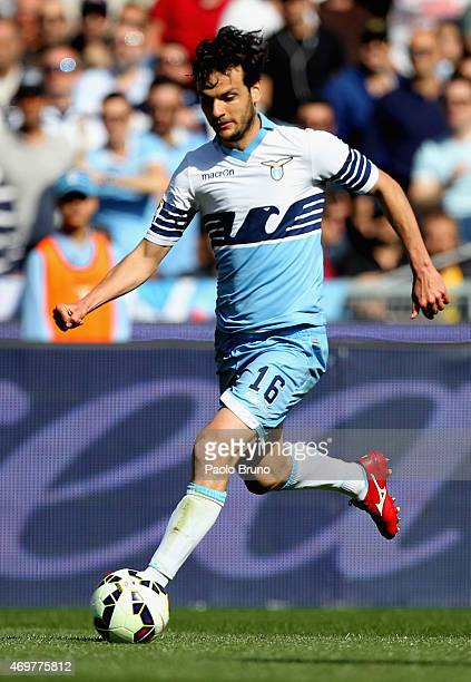 Marco Parolo of SS Lazio in action during the Serie A match between SS Lazio and Empoli FC at Stadio Olimpico on April 12 2015 in Rome Italy