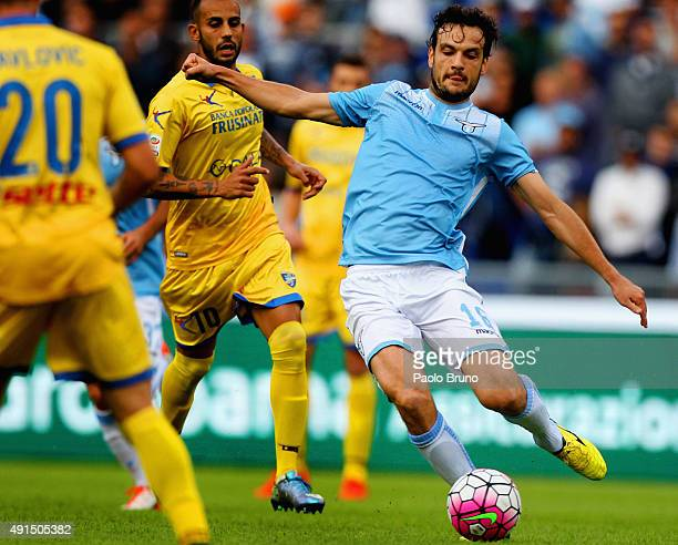Marco Parolo of SS Lazio in action during the Serie A match between SS Lazio and Frosinone Calcio at Stadio Olimpico on October 4 2015 in Rome Italy