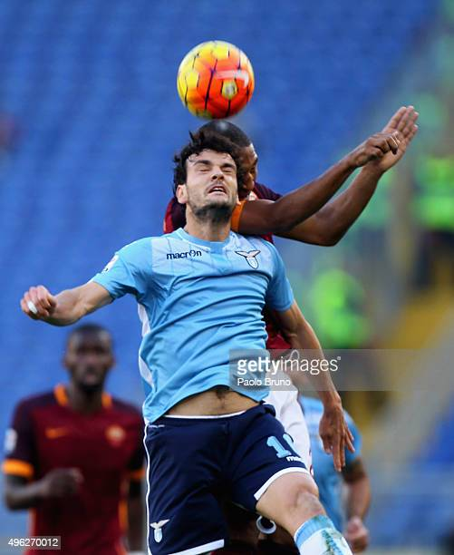 Marco Parolo of SS Lazio in action during the Serie A match between AS Roma and SS Lazio at Stadio Olimpico on November 8 2015 in Rome Italy