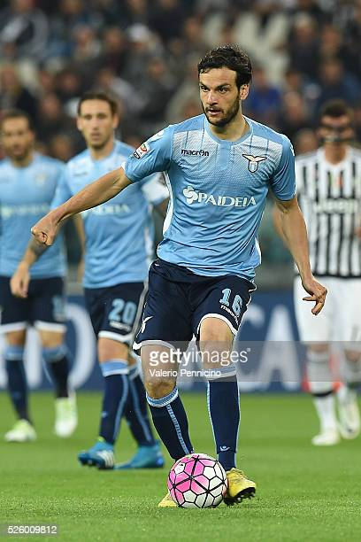 Marco Parolo of SS Lazio in action during the Serie A match between Juventus FC and SS Lazio at Juventus Arena on April 20 2016 in Turin Italy
