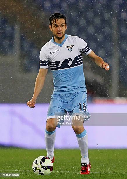 Marco Parolo of SS Lazio in action during the TIM Cup match between SS Lazio and SSC Napoli at Stadio Olimpico on March 4 2015 in Rome Italy