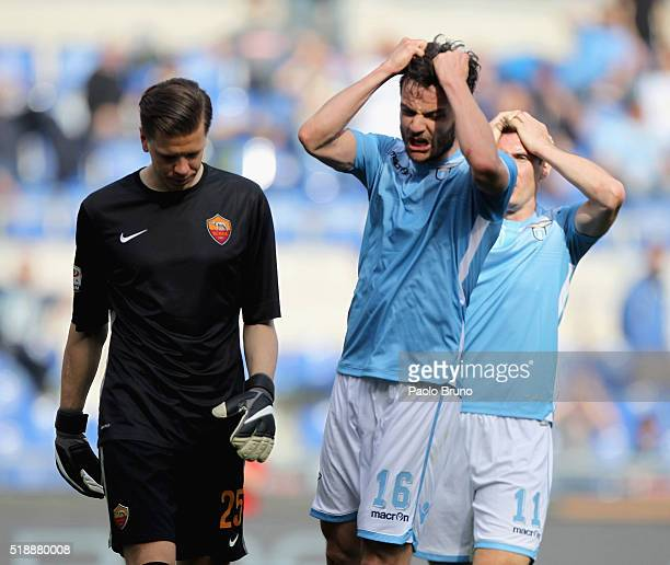 Marco Parolo of SS Lazio reacts during the Serie A match between SS Lazio and AS Roma at Stadio Olimpico on April 3 2016 in Rome Italy