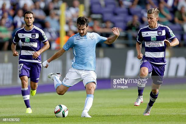 Marco Parolo of SS Lazio Roma Dennis Praet of Anderlecht during the preseason friendly match between RSC Anderlecht and SS Lazio Roma on July 19 2015...