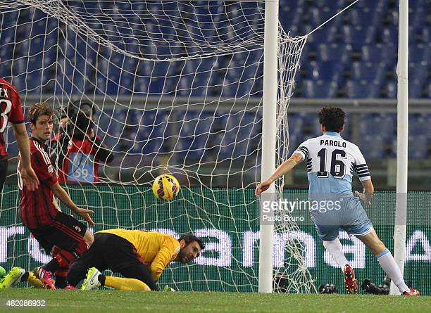 Marco Parolo of SS Lazio scores the first team's goal during the Serie A match between SS Lazio and AC Milan at Stadio Olimpico on January 24 2015 in...