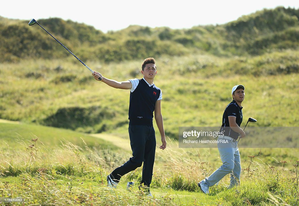 Marco Penge of GB&I and Romain Langasque of the Continent of Europe in action during the second day of the Jacques Leglise Trophy at Royal St David's Golf Club on August 31, 2013 in Harlech, Wales.