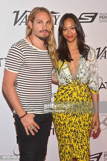 Marco Perego and Zoe Saldana attend the Relativity at 10 party at Hotel du CapEdenRoc on May 18 2014 in Cap d'Antibes France