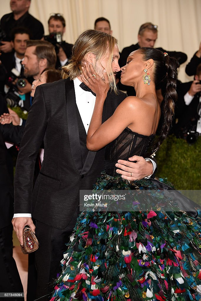 Marco Perego and Zoe Saldana attends 'Manus x Machina: Fashion In An Age Of Technology' Costume Institute Gala at Metropolitan Museum of Art on May 2, 2016 in New York City.