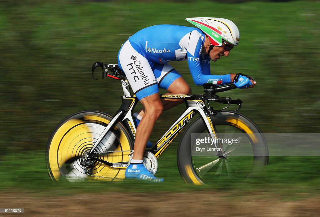 <a gi-track='captionPersonalityLinkClicked' href=/galleries/search?phrase=Marco+Pinotti&family=editorial&specificpeople=587978 ng-click='$event.stopPropagation()'>Marco Pinotti</a> of Italy in action during the Elite Men's Time Trial at the 2009 UCI Road World Championships on September 24, 2009 in Mendrisio, Switzerland.